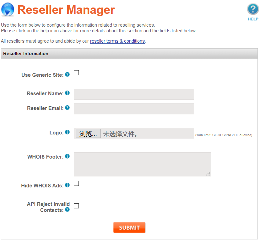 Reseller Manager UI