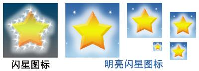 闪星图标与明亮闪星图标